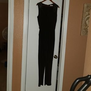 Black  and studded Jumpsuit with belt and pockets